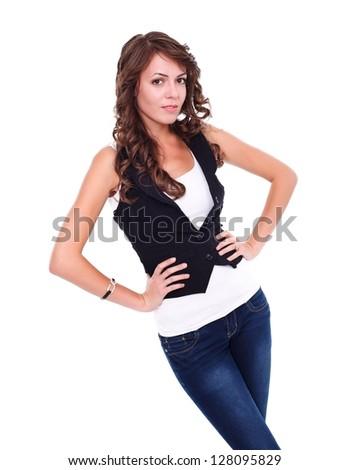 Young woman posing to camera, studio shot - stock photo