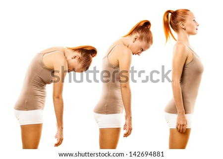 Young woman practicing yoga spine roll over white background - stock photo