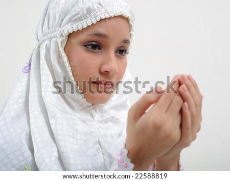 Young Woman Praying - stock photo