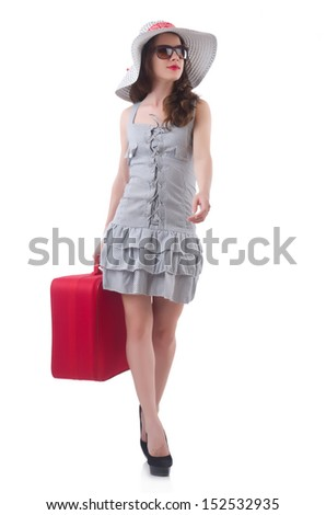 Young woman preparing for vacation - stock photo