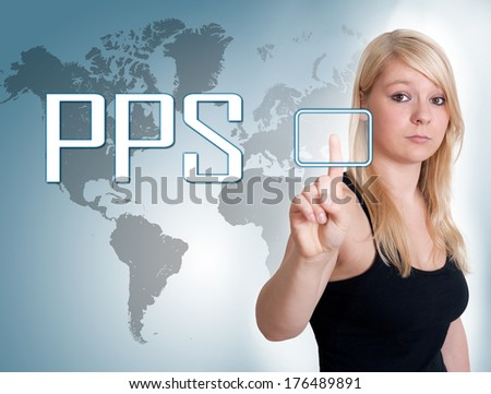 Young woman press digital Pay per Sale button on interface in front of her - stock photo