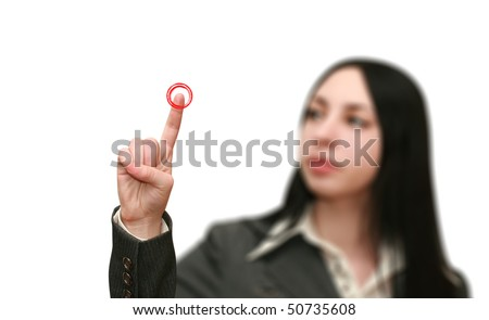 young woman presses the red button - stock photo