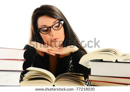 Young woman reading a book isolated on white. Female student learning. - stock photo