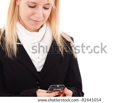Young woman reading a text message - stock photo