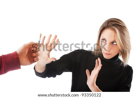 young woman refuses to smoke isolated on white background - stock photo