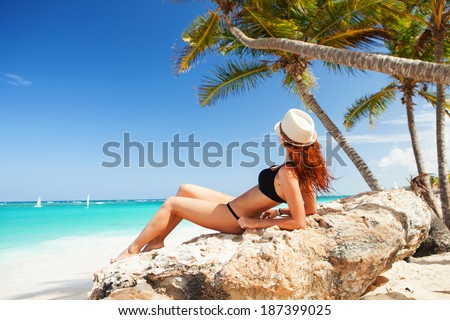 Young woman relax on the beach - stock photo