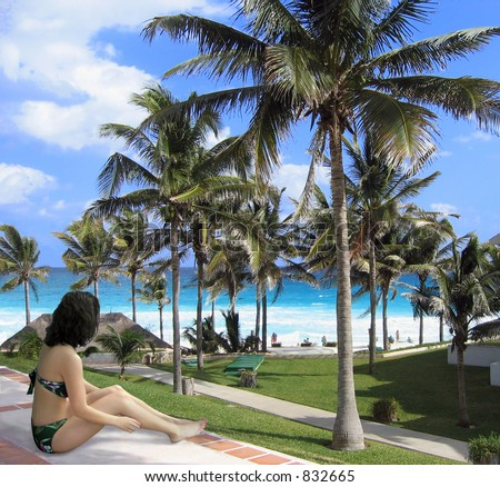 Young woman relaxes by the ocean - stock photo