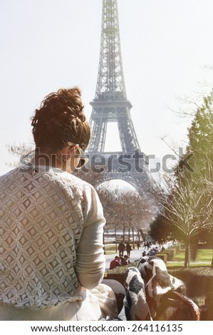 Young woman relaxing in Paris. vintage