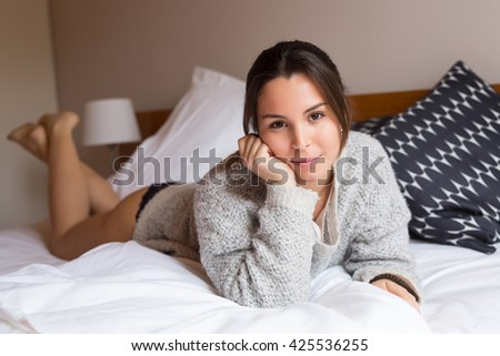 Young woman relaxing in the morning