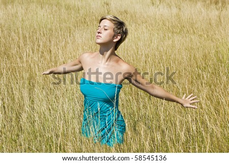 young woman relaxing in the nature