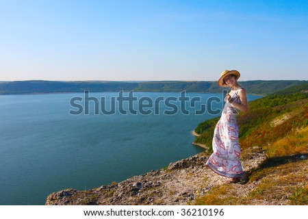 Young woman relaxing on a river