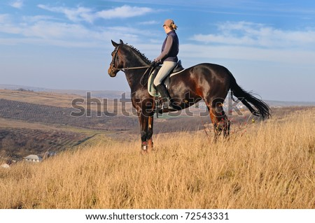 Young woman riding a horse in autumn filed - stock photo