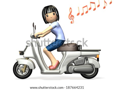 Young woman riding a scooter.  isolated, computer generated image, side view