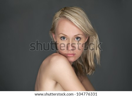 Young woman's face - stock photo