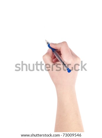 young woman's hand is writing - stock photo