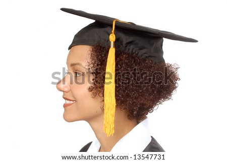 Young woman's profile on her graduation day