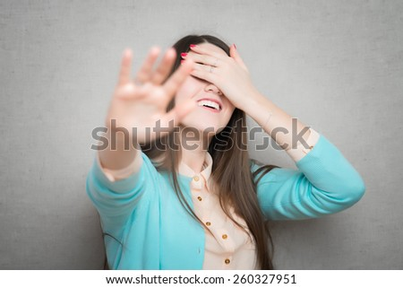 Young woman saying no gesture - stock photo