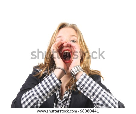 Young woman screaming loud with hands at mouth - stock photo