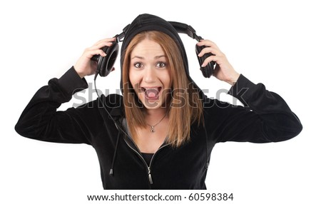 young woman screaming with music,isolated on white - stock photo