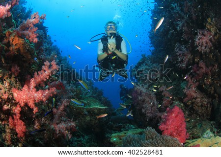Young woman scuba diver exploring coral reef - stock photo