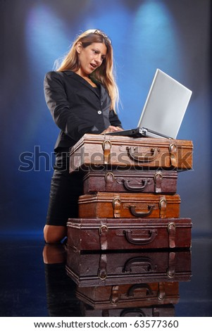 Young woman searches for a job online - stock photo