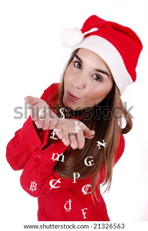 Young woman sending (symbolic) money as a Christmas gift.