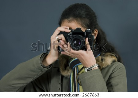 young woman shooting