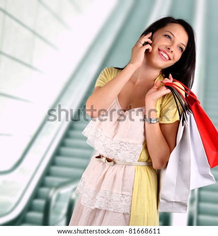 Young woman shopping - stock photo