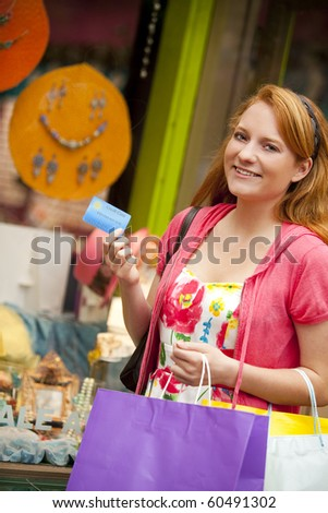 Young woman shopping at a mall