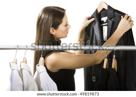 Young woman shopping in a store - stock photo