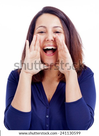 Young woman shouting, isolated on a white background - stock photo