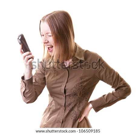 Young woman shouting on somebody calling her, isolated on white