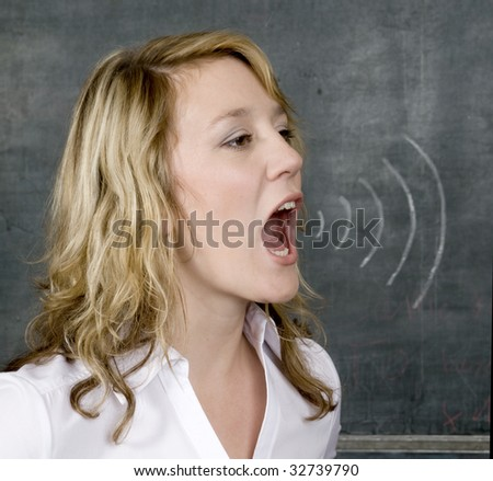 Young woman shouts with chalk marks to represent sound