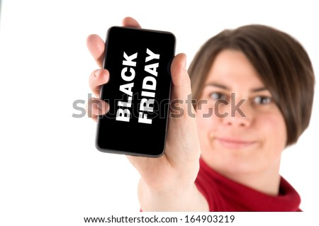 young woman show telephone with black friday - stock photo