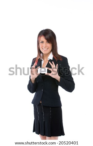 young woman showing a card - stock photo