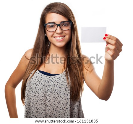 young woman showing a personal card isolated on white - stock photo