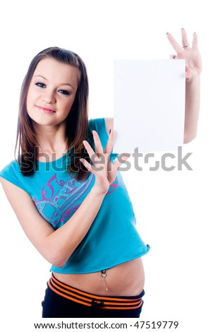 Young woman showing blank sheet of paper at isolated background - stock photo