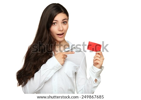 Young woman showing copy space on empty blank sign - stock photo