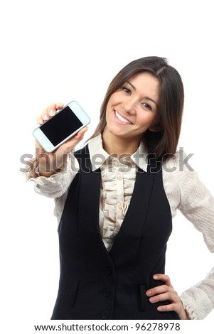 Young Woman Showing display of new touch mobile cell phone on a white background. Focus on hand with cellphone - stock photo