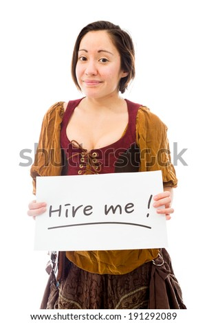 Young woman showing hire me sign on white background