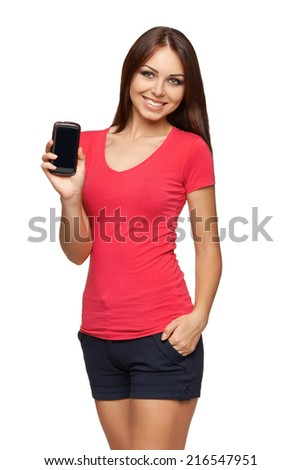 Young woman showing mobile cell phone with black screen over white background - stock photo