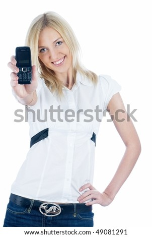 Young woman showing mobile phone at isolated background - stock photo