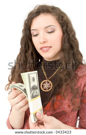 Young woman showing money isolated on white background