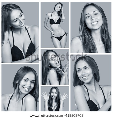 Young woman showing several expressions - stock photo