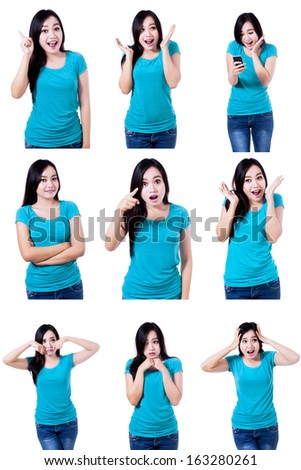 Young woman showing several expressions, isolated on white background - stock photo