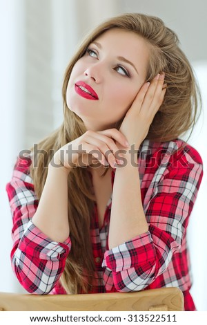 Young woman showing several expressions. Series - stock photo