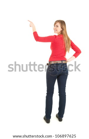 young woman showing something up, full length, white background