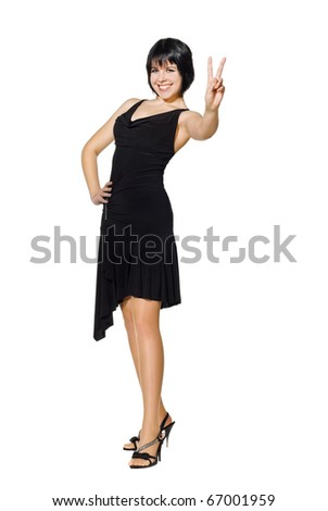 young woman showing the victory sign. Isolated over white