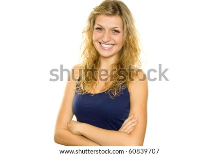 Young woman shows off her beautiful teeth. Lots of copyspace and room for text on this isolate - stock photo