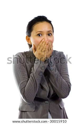 Young Woman Shut Her Mouth on white background